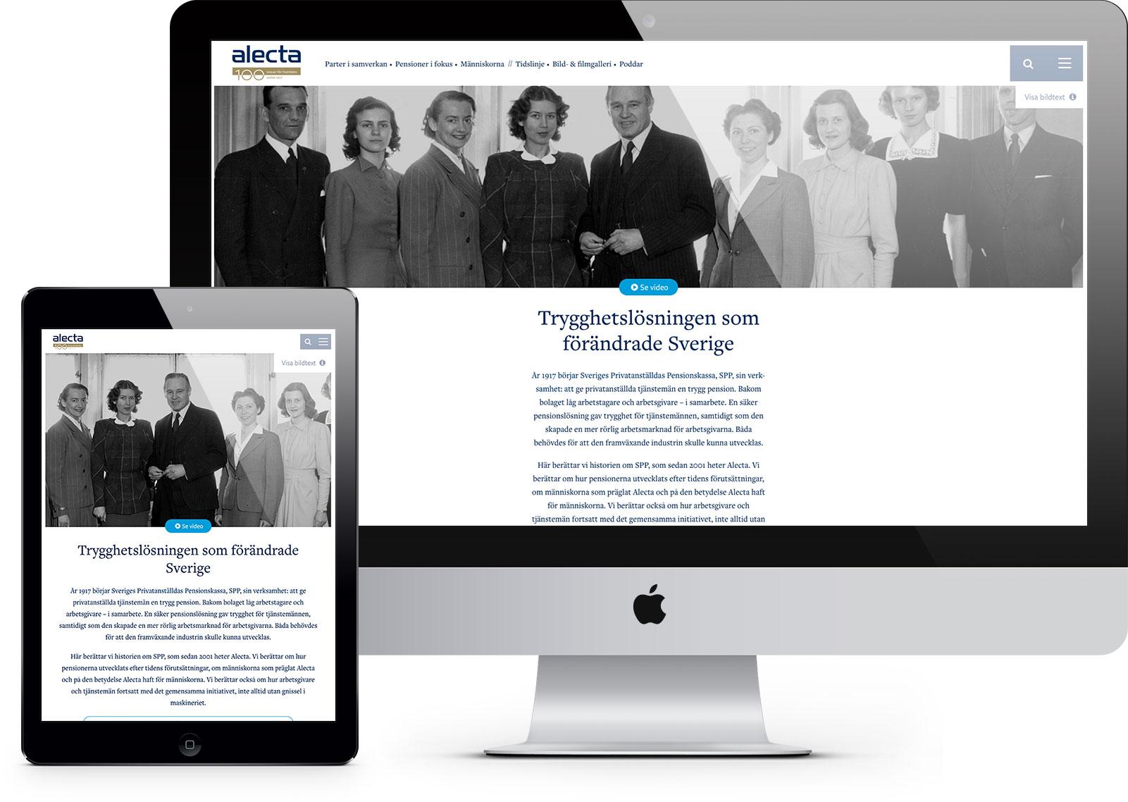 Webbplats för Alectas historia