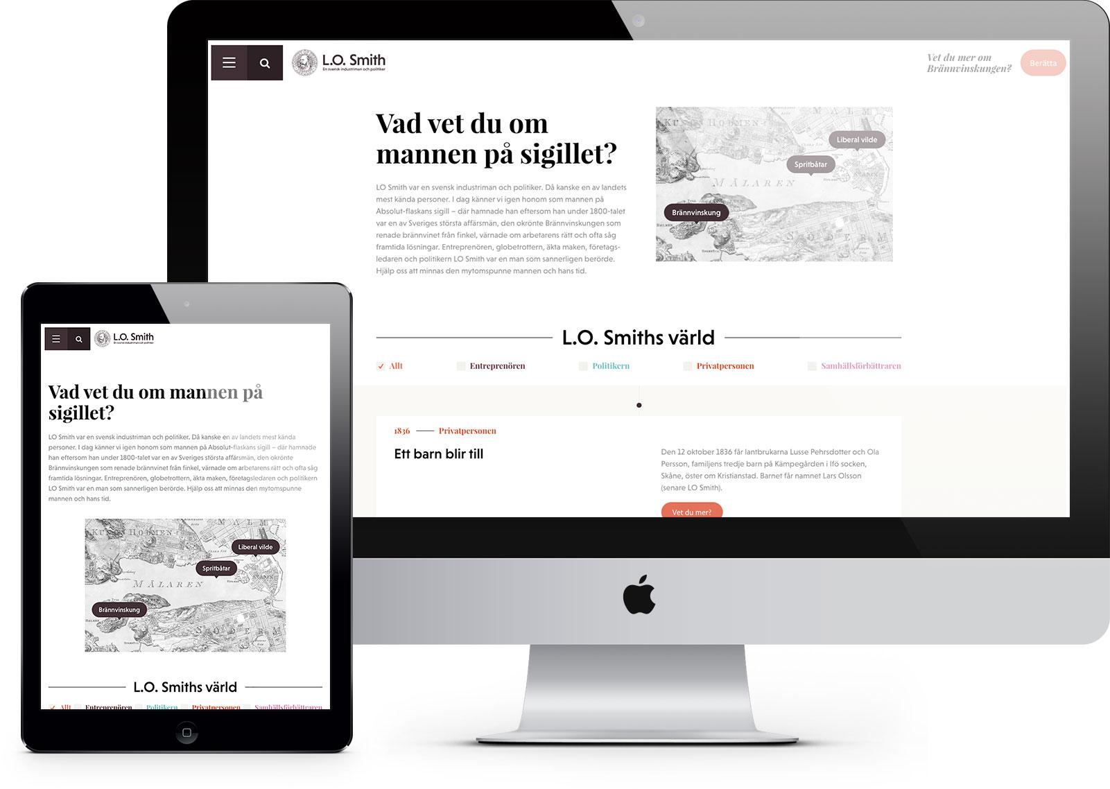 Webbplats för L.O. Smiths historia